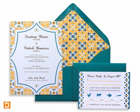 Ready To Print Wedding Invitations: Talavera Tile Mexico Destination Wedding Printable Invitation