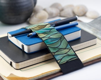 Journal Bandolier Large // green waves // (a better pencil case, journal pen holder, book strap, pen loop, pencil roll, pen bandolier)