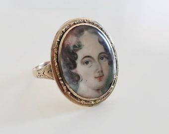 Antique Georgian miniature portrait ring. Regency portrait. Portrait ring. Antique portrait ring. Georgian conversion ring.