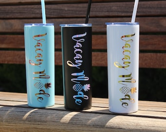 stainless steel vacation tumbler with straw, vacation water bottle, pineapple tumblers, rose gold tumblers with straw, family vacation cups