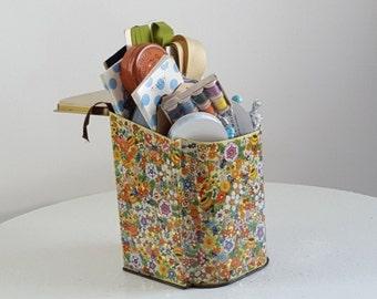 Vintage Craft Piece Lot, Tin of True Vintage Craft Embellishments, Daher Floral Tin, Vintage Notions Mix n Match Craft Supplies, Crafts