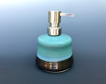 Stoneware pottery soap dispenser, lotion pump- matte green and black glaze- with stainless steel pump (holds 7 oz), ceramic soap pump