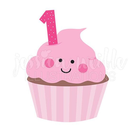 pink girls first birthday cupcake cute digital clipart rh etsy com 1st birthday clipart free 1st birthday clipart girl