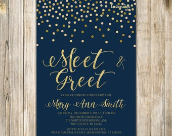 Meet and greet invitation silver blue glitters meet the baby meet and greet invitation meet the baby invite sip and see party invites twin boys couples shower baby open house navy blue and gold m4hsunfo