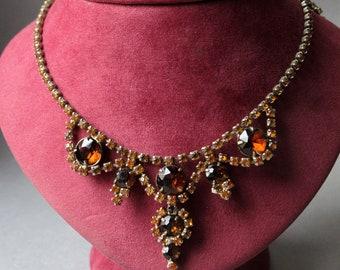 Magnificent vintage Czech Bohemian amber glass rhinestones rare necklace