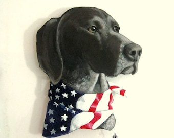 Fathers Day, German Pointer, Custom Pet Portrait Painting, Dog Window, Pet Loss Memorial, Hunting Dog, HandPainted Pet, American Flag Scarf