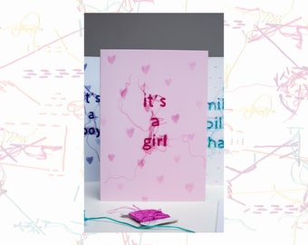 Baby Girl Card - It's A Girl Card - Greeting Card - New Baby Card