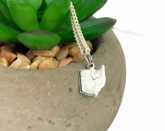 Silver Cleveland Ohio Charm Necklace - tiny state charm pendant - Cleveland Jewelry