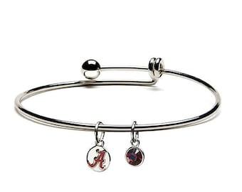 University of Alabama Bracelet | Alabama Crimson Tide - Red A Charm with Crystal | Officially Licensed University of Alabama Jewelry