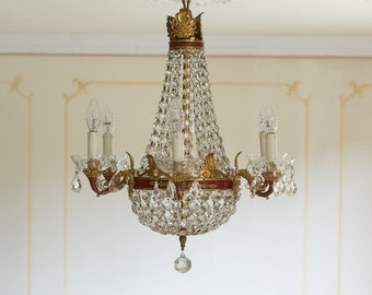 Empire chandelier with 6 lights art nouveau Antique Crystal Chandelier  Murano art dèco Maria Teresa vintage balloon chandelier