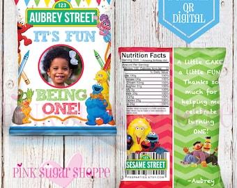 Sesame Street Favor Bags - Custom Chip Bags - Sesame Street Birthday - Sesame Steet Party -  Digital - Printable - Printed - Elmo Chip Bag