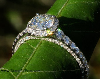 OLD and NEW - 1.31 carats total - Old Mine Cut Center Diamond - Halo - Antique Style - Diamond Engagement Ring 14K - Bph031
