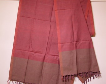 The 'Rajni' Mauve/Dull Magenta and Brown Striped Scarf from Weaving Destination 100% Organic Cotton