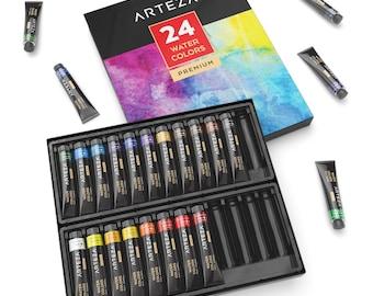 ARTEZA Watercolor Premium Artist Paints Set - 24 Colors (24 x 12 ml / 0.74 US fl oz)