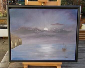 Moonlit Sea  - Original oil painting
