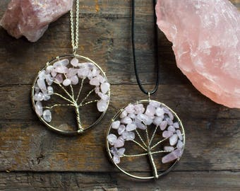 Rose Quartz Tree of Life Necklace Pendant Polished Rose Quartz Natural Crystal Healing Crystal Taurus May April Unique Birthday Unusual Gift