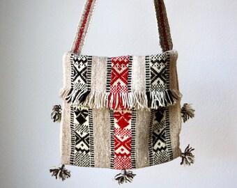 Vintage 70s Boho Wool Bag, Ethnic Crossbody Purse, Hand Woven Shoulder Bag