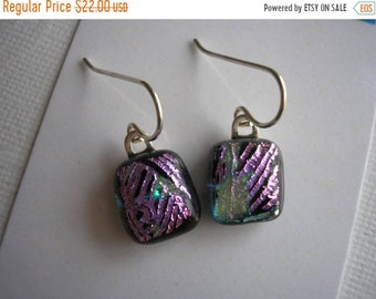SPRING SALE Earrings Dichroic Glass Petite Black with Pink Accent Lines Fused Glass Jewelry Small Earrings Lightweight Sterling Earwires Dan