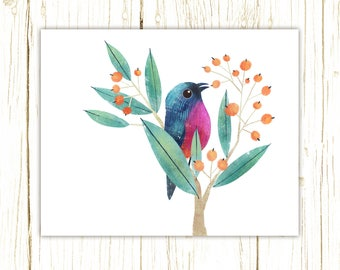 Rose-Bellied Bunting Print -- bird art -- colorful bird art by stephanie fizer coleman illustration