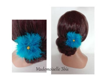 bun turquoise feather Federschmuck, wedding, wedding hat, hair stick hair pin