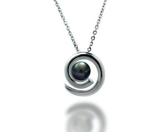 Taormina Black Pearl Pendant in Stainless Steel. Modern and Unique