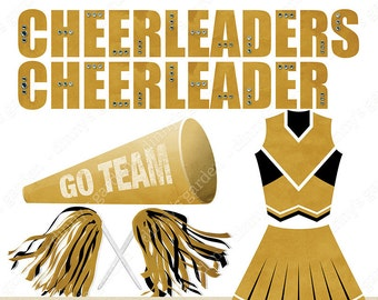 CHEER, Digital Clip Art Embellishments | CONVO for CUSTOM colors | gold black cheerleader uniform rhinestone word art megaphone pom poms