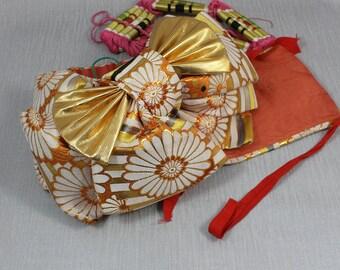 Vintage Obi Japanese Style Belt Bustle Sash  Bow In Orange and Gold