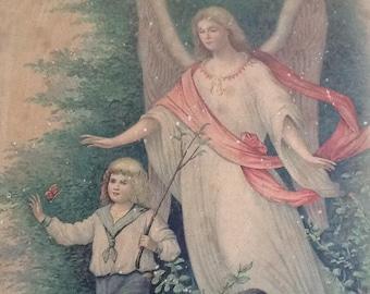Vintage print of angel and boy. German vintage print. Religious print, guardian angel with boy.