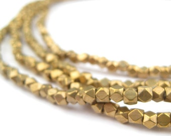 200 Diamond Cut Faceted Antiqued Brass Beads - Brass Spacer Beads - 3mm Brass Spacers - Tiny Ethnic Beads - Faceted Metal (MET-USU-BRS-314)