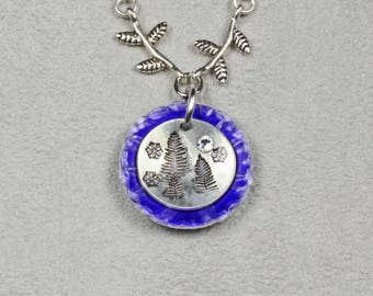 Pine Trees and Snowflakes Necklace - Pine Tree Necklace - Blue and Silver Necklace - Metalwork Necklace - Stamped Necklace - Pine Forest
