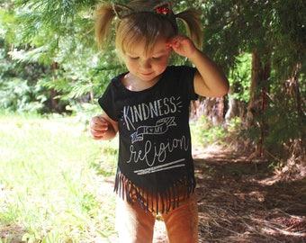 Girls Fringe Bottom Tee - Fringe Tee - Toddler Fringe T Shirt - Fringe Shirt - Little Girls Fringe Shirt - Kindness T Shirt - Graphic Tee
