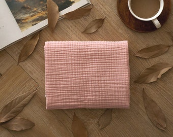 Wrinkled Cotton Gauze, Crinkle Gauze, Triple Layers - Pink - 57 Inches Wide - By the Yard 89629