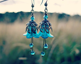 Flower Earrings - Teal Earrings - Floral Earrings - Aqua Earrings - Bronze Earrings - Dangle Drop Earrings - Long Earrings - Victorian Gift.
