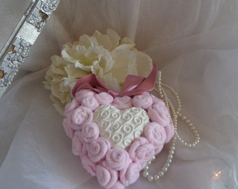 heart hanging shabby chic pink white and powder and plaster to scented