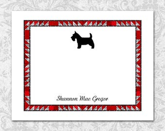 Scottish Terrier Note Cards with Quilt Border, Red Gray Black, Terrier Silhouette Highland Breed, Personalized Dog Cards, Dog Stationery