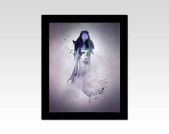 Corpse Bride inspired Emily gothic faded watercolour effect print