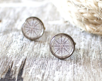 Vintage Compass Rose Cufflinks. Nautical Cufflinks. Vintage Travel Cufflinks. Traveller Gift. Wanderlust Cufflinks. Nautical Wedding.
