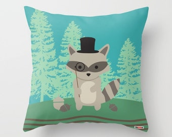 Raccoon pillow, Decorative pillow cover - Kids pillows - Nursery pillow cover - Pillows with sayings - Cute pillow - Animals pillow