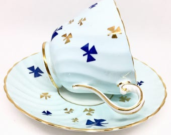 Aynsley Blue Trefoil Tea Cup and Saucer, Girl Guides Tea Cup, Canada Special Edition, Vintage Bone China