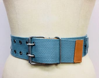 Baby Blue Woven and Silver Metal Belt