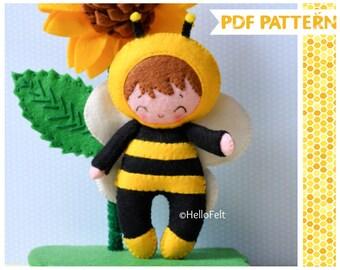 PDF PATTERN: Little Bee Kid and Sunflower. Felt Bee Doll, sunflower Sewing PDF Pattern, Felt flower Pattern.