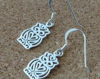 Sterling silver owl drop earrings