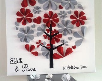 guest book - tree signature-3d tree prints on a cotton 50 x 50 cm