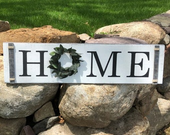 Home sign with greenery wreath - Rustic Home Decor - Farmhouse Decor -Farmhouse Chic - Statement Piece
