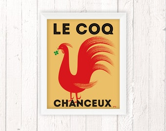 French Country Decor, Kitchen Decor, Rooster Poster, Good Luck Gift, 11x14
