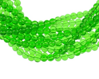Clear Bight Kelly Green 6mm Round Glass Beads - Full 16 inch strand - Approximately 72 beads