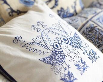 Embroidery pattern SCANDI BIRDS - black,scandinavian,embroidery,pillow,needlecraft,cushion,birds,swedish embroidery,Anette Eriksson Design