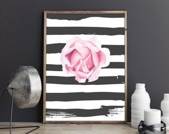 Pink rose digital print - flower print - rose printable - rose watercolor print - pink rose art - botanical poster - printable decor #p13