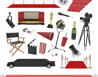 Movie Clipart, Hollywood Clip Art, Red Carpet Image, Film Reel Graphic, Theatre Gala PNG, Cinema Scrapbook, Award Night Digital Download