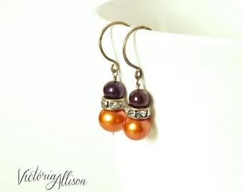 Orange and Dark Purple Plum Pearl Wedding Earrings, Rhinestones, Brass Hooks, Bridal Jewelry, Freshwater Pearls, Fall, Autumn